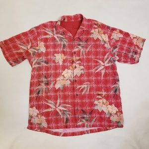 Tommy Bahama Silk Red Floral Button Up Shirt, Sz L